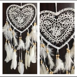 White lace heart dream catcher